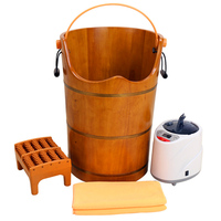 Wood Sauna Steam Solid Wood Bubble Foot Barrel Foot Tub Steamed Feet Steam Generator Personal Care Appliances Home Spa