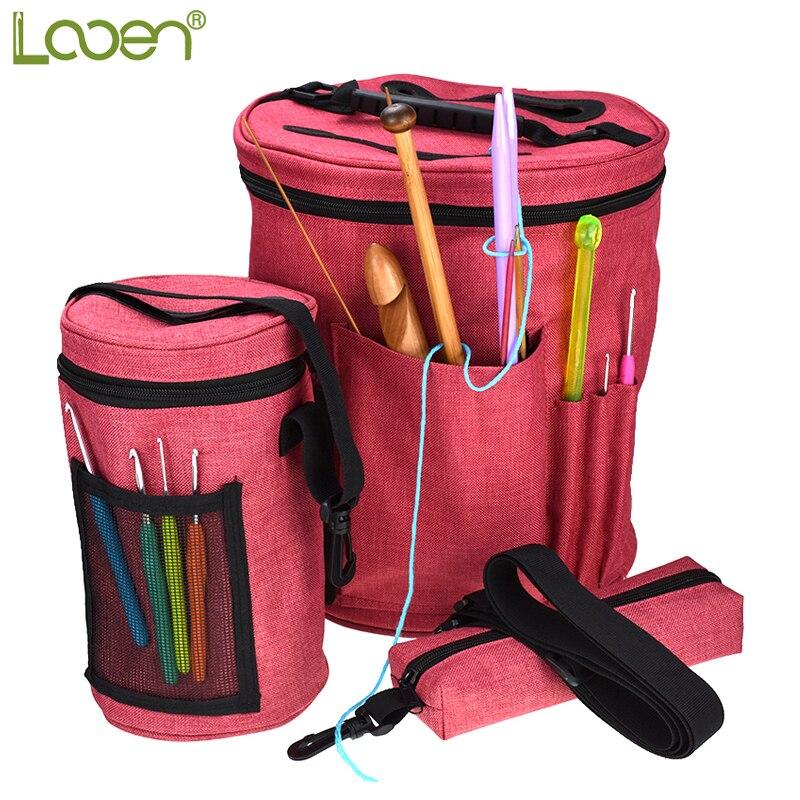 Looen Brand 3pcs Empty Yarn Storage Bag Yarn Organizer For All Crochet and Kiniting Accessories For Women Mom DIY Sewing Kit Bag