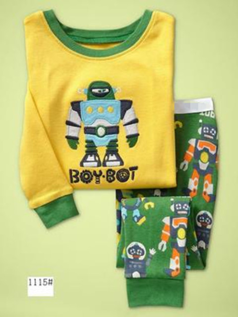 New Cartoon Kids Robot Pajamas Set Boys Long Sleeve Spring Autumn Sleepwear Clothing Baby Lovely Pyjamas Suit Children Costumes