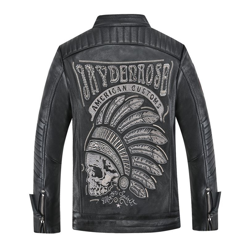 Jacket Flight-Pilot Skull Motorcycle Real-Leather Coat Natural Winter for Men Male Men's