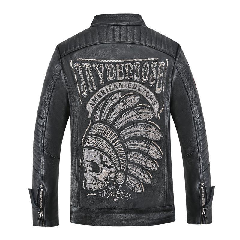 Men's Skull Winter Genuine Leather Jacket For Men Motorcycle Flight Pilot Bomber Jacket Natural Real Leather Male Coat 2019