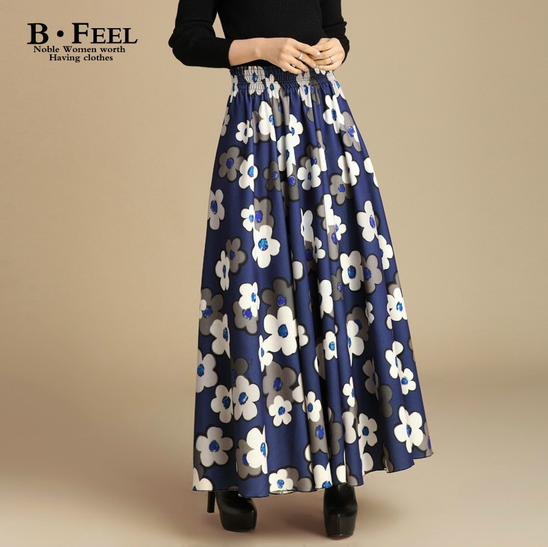 New fashion color block long wool skirt high waist vintage plaid ...