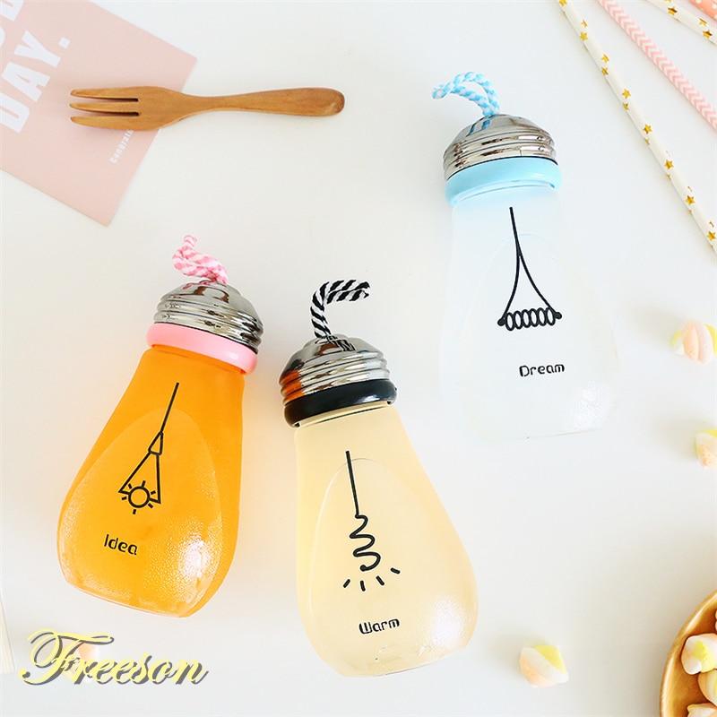 Cute Funny Bulb Water Bottle with Lid Sleeve Creative Kawaii Bike Sport Glass Bottle Girl Student Children Drinkware Zakka