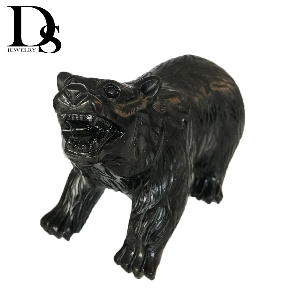 14cm Natural Black Obsidian Polar Bear Sculpture Crystal Figurine Carved Quartz Statue Party Gifts Decoration figurine