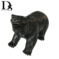 14cm Natural Black Obsidian Polar Bear Sculpture Crystal Figurine Carved Quartz Statue Party Gifts Decoration