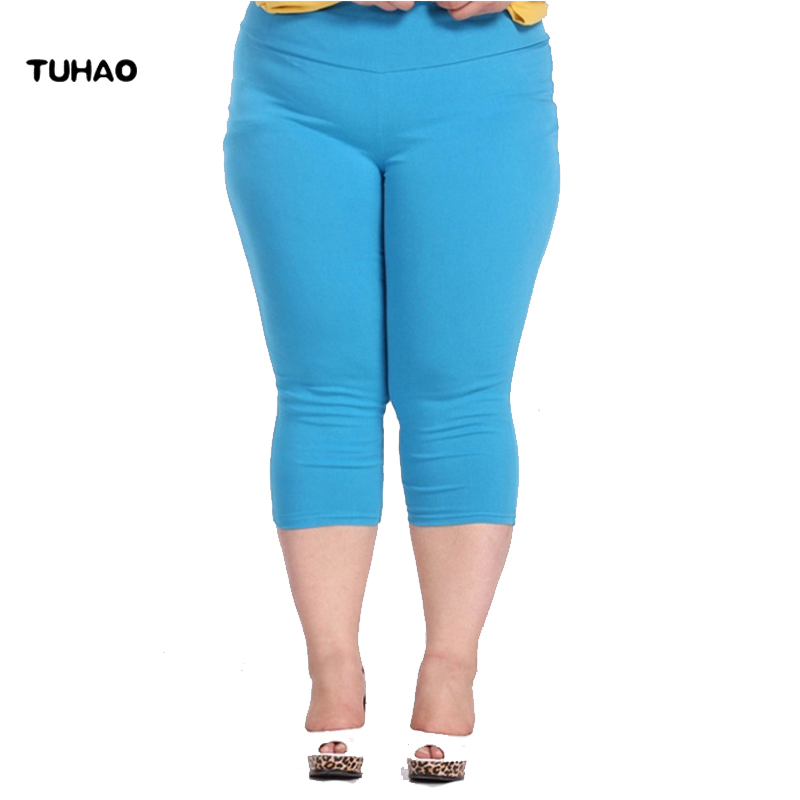 TUHAO Plus Size Female Elastic   Pants   6XL 5XL 4XL Good Quality Extra Large Size Women   Capris     Pants   Super Stretch Summer   Pant   YB02