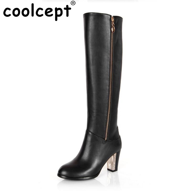 Women Genuine Real Leather Knee Boots Winter Snow Boots Sexy High Heel Fashion Zipper Women Riding Boots Shoes Plus Size 30-45