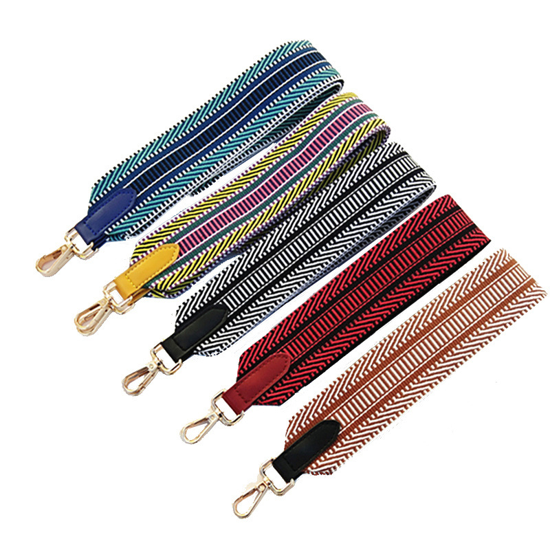 Nylon Belt Bag Strap For Crossbody Handles Handbag Striped Wide Strap Bag Women Accessories Adjustable Shoulder Strap Bag W222