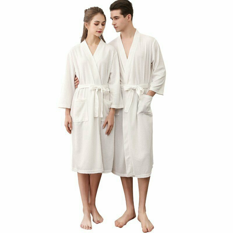 Female Bathrobe Pajamas Nightgowns-Robe Sleepwear Waffle Shower M-XXXL Long Cotton Women
