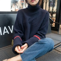 4xl plus big size sweater women spring autumn winter 2017 feminina thin thickening turtleneck sweater knit loose female A2341