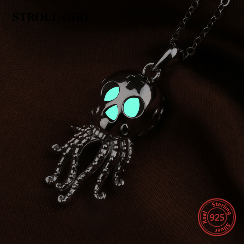 100% Sterling Silver Octopus Skull Glowing Pendant Necklace