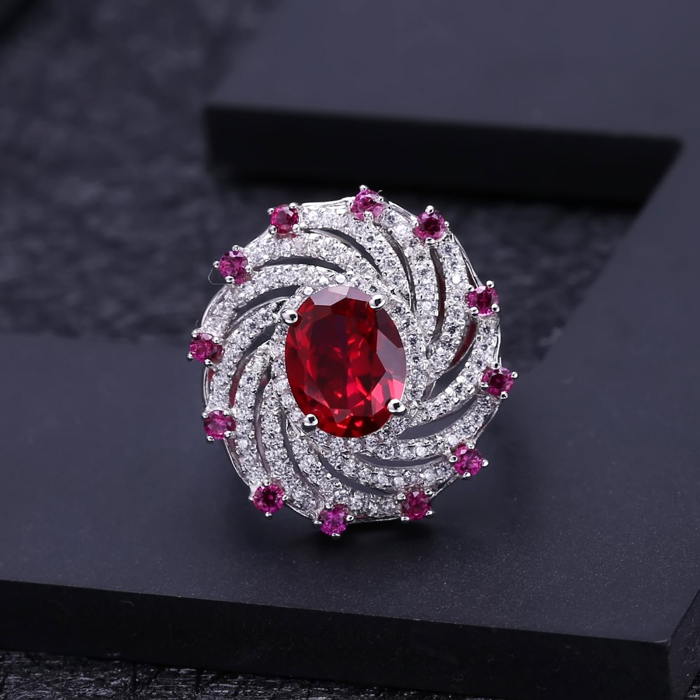 Image 4 - Gems Ballet Huge Luxury Created Ruby Vintage Cocktail Ring 925  Sterling Silver Engagement Wedding Rings For Women Fine JewelryRings