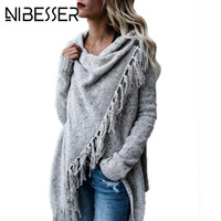 NIBESSER Christmas Sweaters Women Fashion Tassel Cross Knitted Sweaters Female Autumn Streetwear Casual Knitwear Shawl Z30