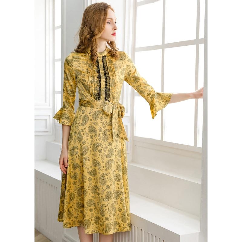 PIXY Yellow Print Midi Dress Women Elegant Beach Lace Dresses sukienka Summer Flare Sleeve Sweet Rococo za Dress Ladies vestidos