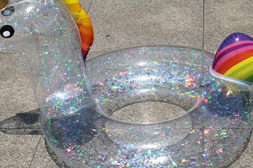 巨大なすべて透明スパンコールフラミンゴユニコーン形状インフレータブル Pvc スイミングリングプールフロートエアマットレスビーチ水楽しいおもちゃ
