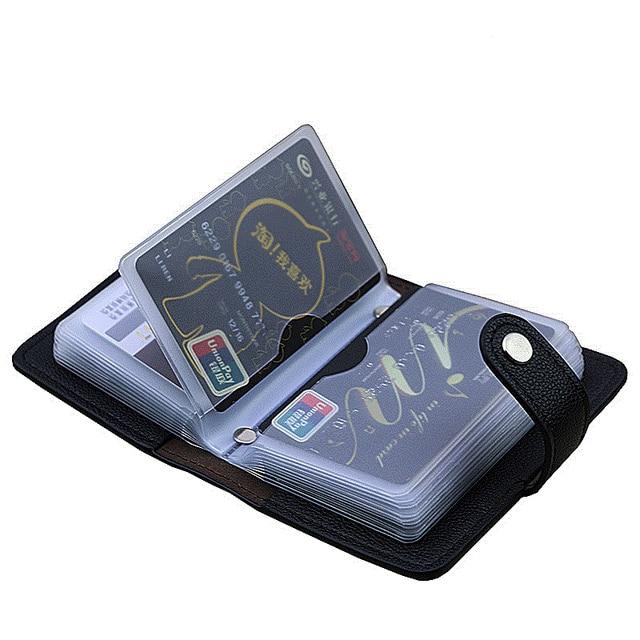 New 24 Slots Fashion Pu Leather Business Card Holder Organizer Hasp