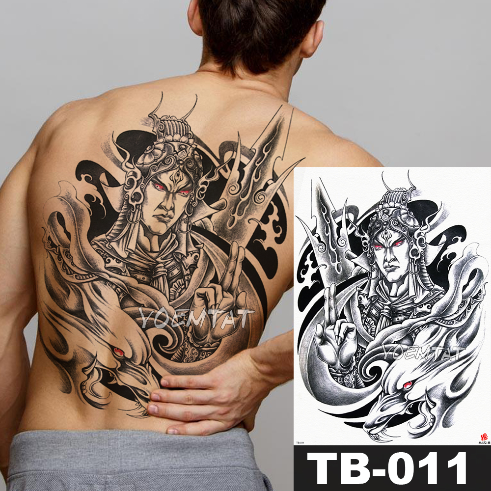 1 Sheet Big Large Full Back Chest Tattoo Sticker god Erlang Dog loyal warrior Body Art Temporary Waterproof for Women Men Tattoo