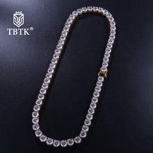 TBTK Fashion 8mm Width Gold/Silver Clear Iced Out Cuban Link Chain Male Copper Luxury Jewelry Man Long Necklaces 2019 Trendy(China)