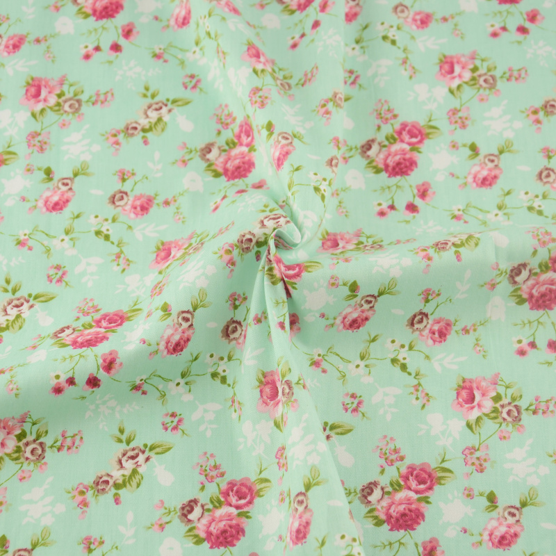 50cmx160cm/piece pretty light green flower cotton fabric home textile tilda patchwork quilting clothing dress sewing bedding