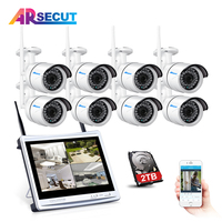 Anran 8CH 12 LCD NVR 720P Wireless CCTV System HD 36 IR Outdoor Night Vision Security