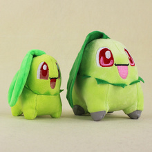 2017 New 2 Styles Kawaii Chikorita With Smile Plush Soft Stuffed Animal Doll toys for kids Birthday gifts