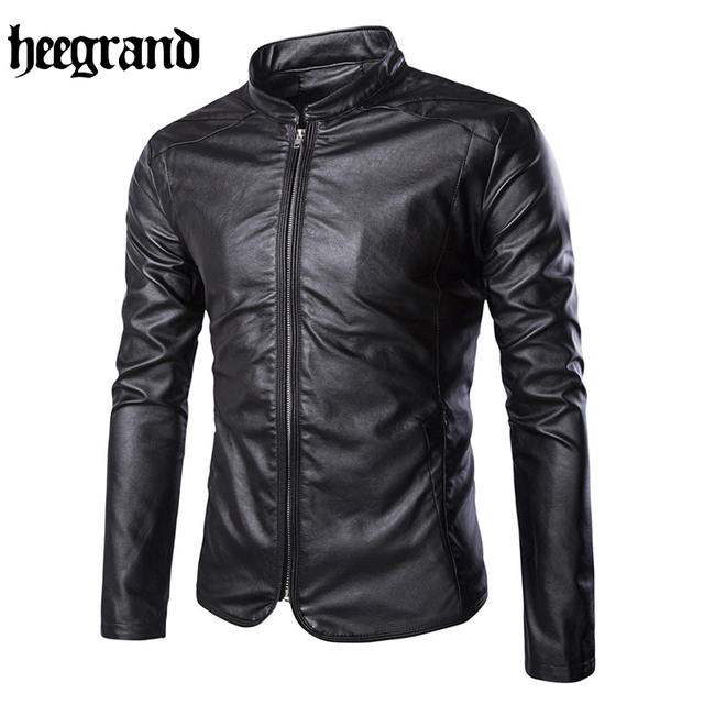 HEE GRAND 2017 New Spring Fashion Brief Men Motocycle Jackets Casual Solid Slim Male PU Coats  MWP327