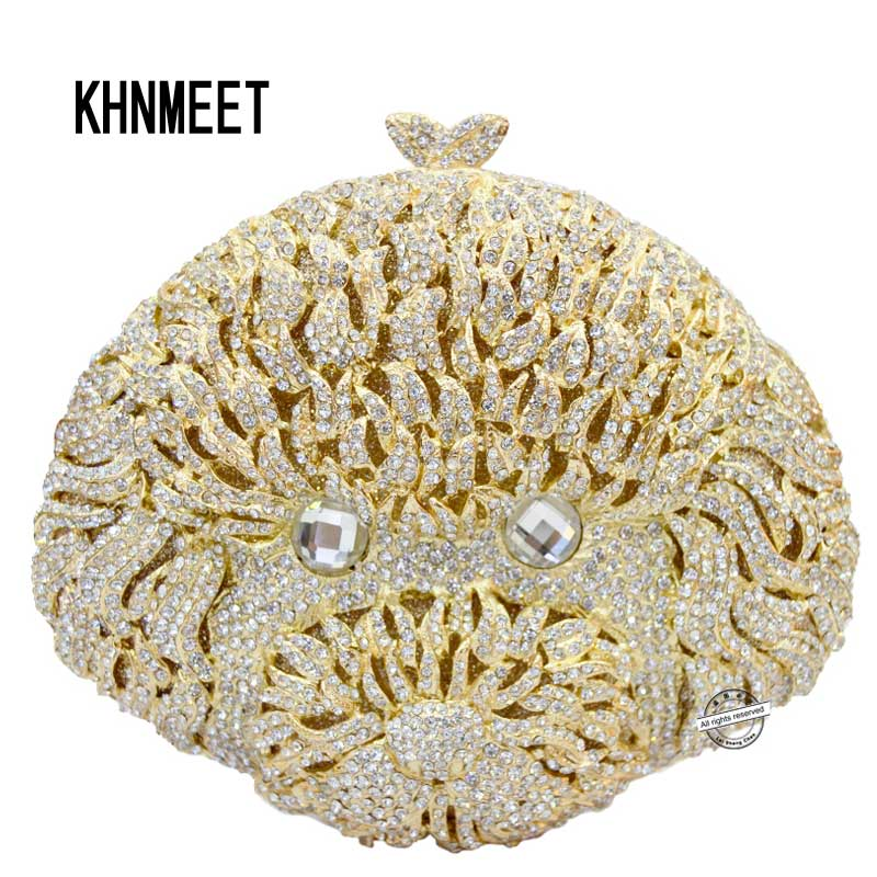 Golden geezer shape evening bags New Fashion people Head Rhinestone clutch bags luxury Crystal Women purse party bag SC165 бумажник golden head портмоне 3331501