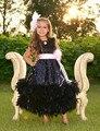 Милый черная конкурс платье маленькая девочка платья 2015 о шеи розовый створки с из перьев линия пят