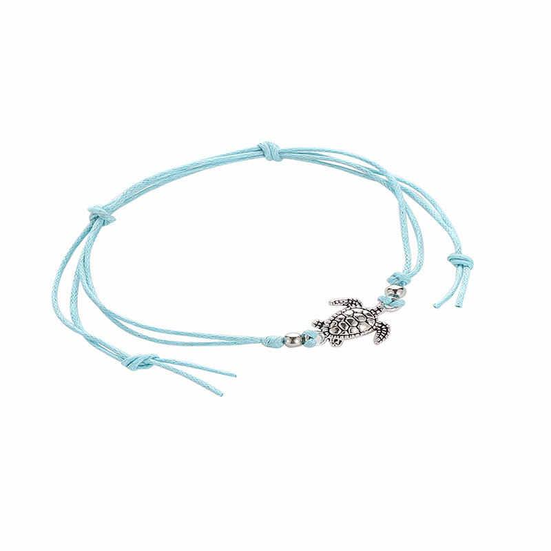 Simple Single Layer Sea Turtle จี้ Anklets สไตล์โบฮีเมีย Anklet Handmade ห่วงโซ่ Vintage Wax เชือกอุปกรณ์เสริม