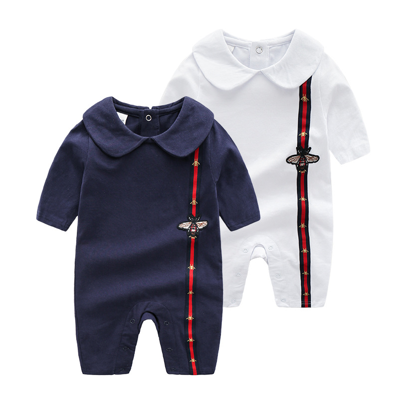 ae4724bee1 Newborn Baby Unisex Cotton Peter pan Collar rompers baby onesie Cute Baby  outfits Navy and White