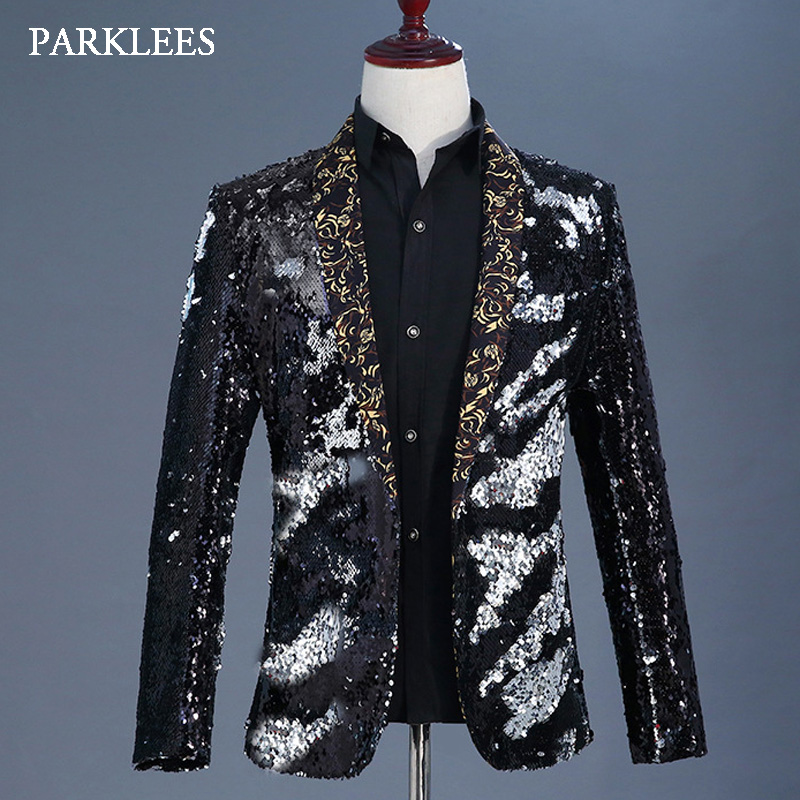 Fashion Flipping Sequins Glitter Blazer Jackets Men Stage Prom Dance Party Black Silver Paillette Suits Homme Singer DJ Costumes