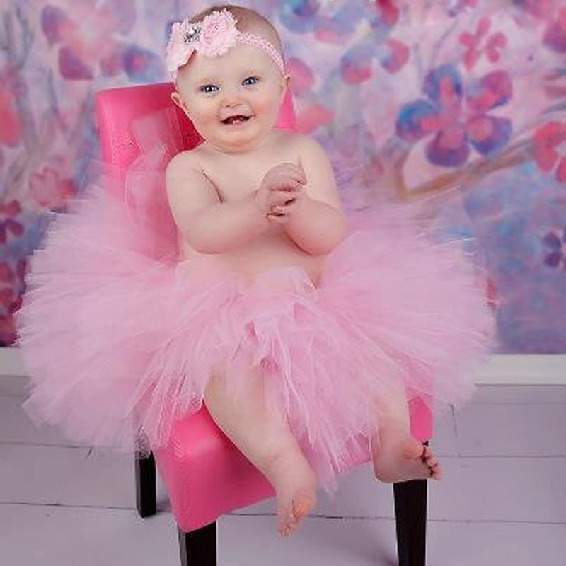 Lovely Baby Girls Tutu Skirts Infant Handmade Ballet Tutus Tulle Pettiskirts with Flower Headband Children Birthday Party Skirts