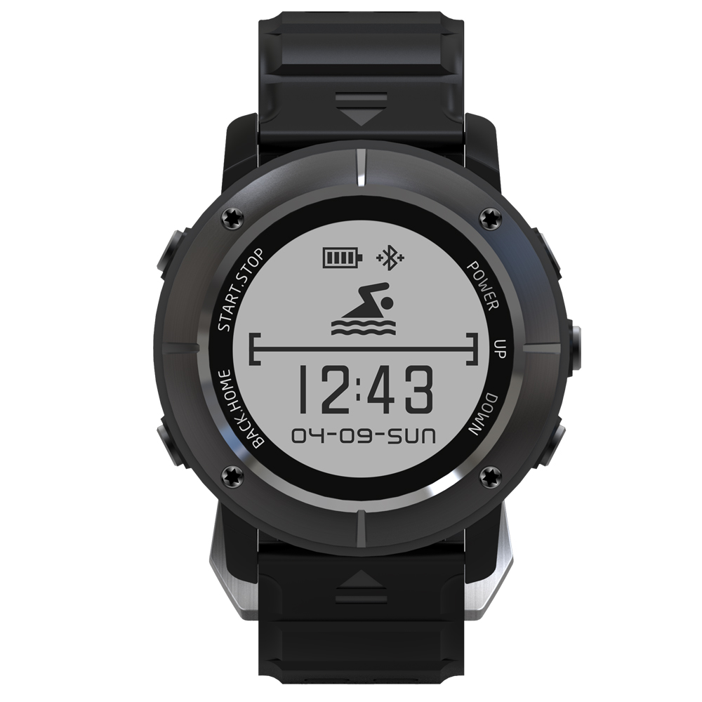 New Uwear UW80 1.2'' OLED Stainless Steel Smart Bluetooth V4.0 GPS Watch Outdoor Sport 10M Waterproof Calls Message Reminder.