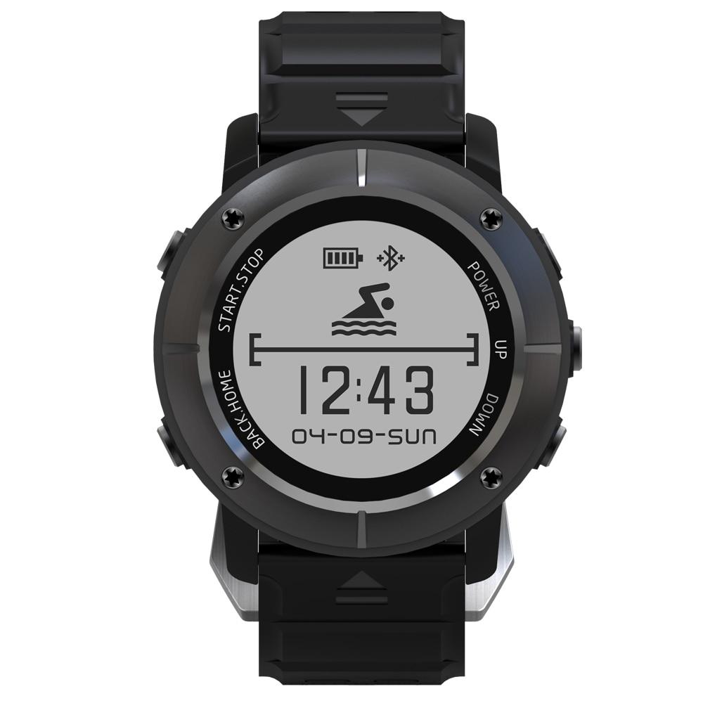 Nouveau Uwear UW80 1.2 ''OLED acier inoxydable montre intelligente Bluetooth 4.0 GPS sports de plein air IP68 étanche appels rappel de Message.
