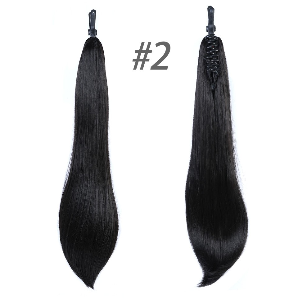 DIFEI 24 Long Straight Ponytail Claw Drawstring Ponytail Heat Resistant Clip In Hair Extensions Hair Tail Fake Hairpieces