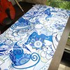 Blue And White Porcelain Chinese Style Cotton And Linen Dining Table Cloth Flat Easy Care Cloth
