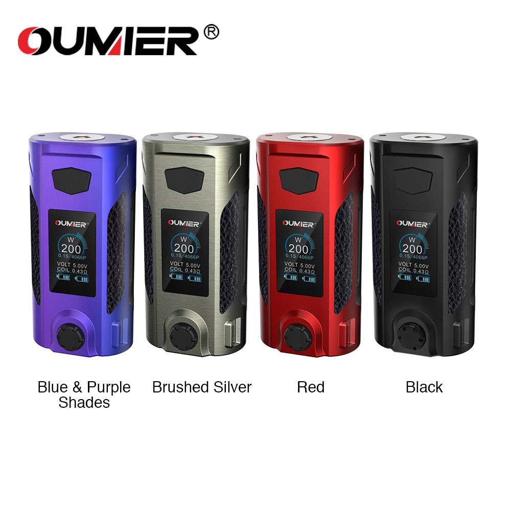 Original OUMIER Rudder 200W Box Mod Electronic Cigarettes 18650 Mods Vaporizer F