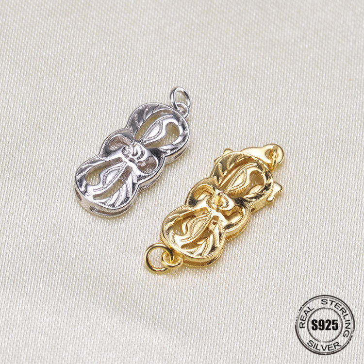 S925 argent connecteurs Bracelet collier filigrane fleur boîte en métal ronde Insert fermoirs fabrication de bijoux