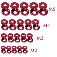 Лучше 10 шт./упак. Алюминиевого Сплава Анодированного Потайной Головкой M2 M3 M4 M5 Шайбы Прокладки Красного Цвета