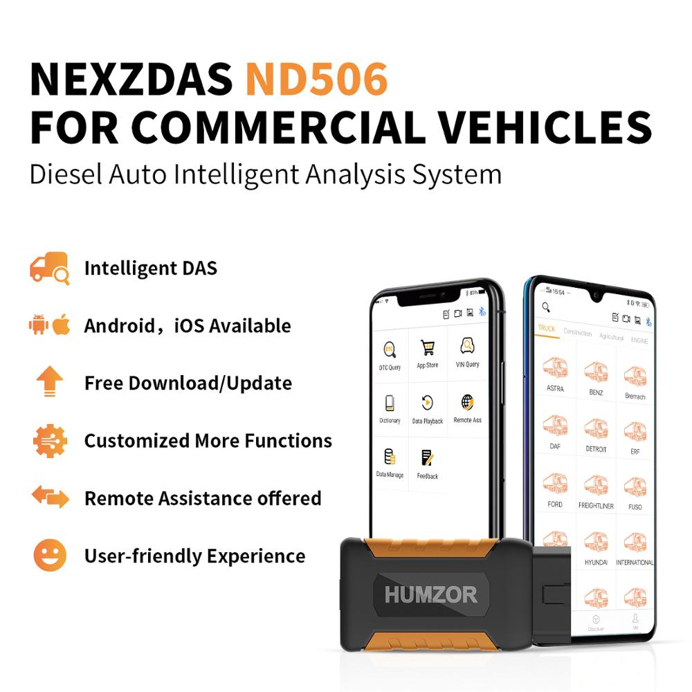 Humzor NexzDAS ND506 OBD2 Leitor de Código de Carro Scanner Completa Do Sistema Do Carro Caminhão Veículos Diesel Ferramenta de diagnóstico Auto Para iOS Android