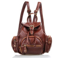 Maxdo Fashion Red Brown Genuine Leather Mini Women Backpacks Cowhide Cute Teenagers Girl Backpack #M3102