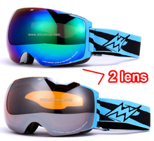 Day night replaceable 2 lens ski goggles snowboard board glasses snow cross country skis googles airbrake