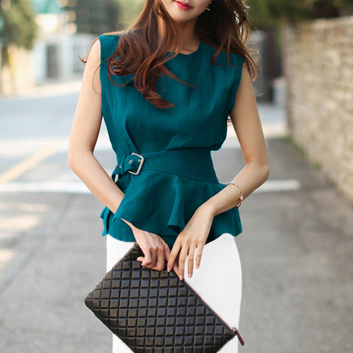 2019 Women Fashion Shirts O-neck Sleeveless Belted Peplum Blouse Chic Plus Size Summer Tops Femme Chemise Blusas High Quality