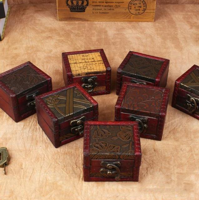Zakka Retro creative desk square Vintage mini Jewelry Organizer Storage Container Decorative Wooden Beauty Box holder & Zakka Retro creative desk square Vintage mini Jewelry Organizer ...