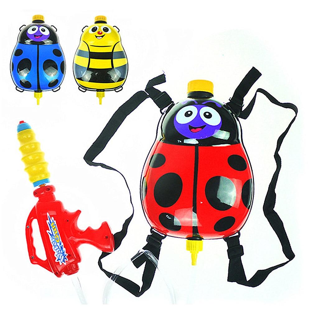 Cute Ladybird Backpack Water Gun Ladybug Outdoor Super Soaker Blaster Knapsack Squirt Pressure Swimming Pool Battle Toys Kids