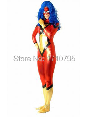 Spider Women Costume Shiny Halloween Cosplay Superhero Costumes for women show zentai suit hot sale free shipping
