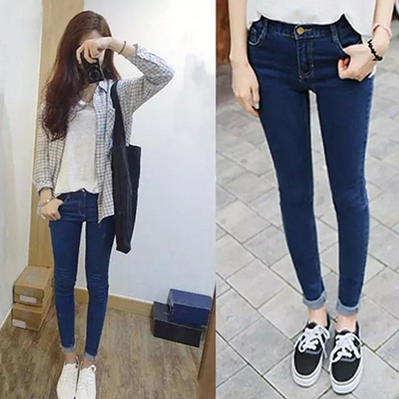 Fashion Women Mid Rise Pencil Stretch Denim Skinny Jeans Pants Casual Trousers