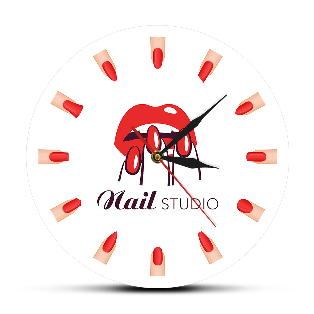 Nail Salon Studio Manicure Nail Types Printed Wall Clock Beauty Salon Different Nail Shapes Wall Art Clock Watch Gift For Her