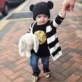 Crianças Chapéus de Inverno Caps Quentes Crianças Dupla Bola Malha Chapéu Do Bebê Das Meninas Dos Meninos malha Crochet Beanie Tampas Adereços Fotografia de Recém-nascidos