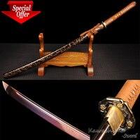 Фэнтези меч полный тан ручной работы кованые Дамаск сложить Сталь Катана деревянные ножны Резкость для Резка Бумага